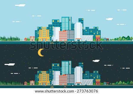 Day and night Urban Landscape City Real Estate Summer Background Flat Design Concept Icon Template Vector Illustration - stock vector