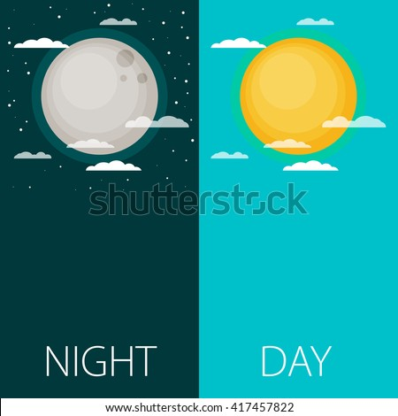 Day and night vector illustrations or banners. Sun and Moon - stock vector