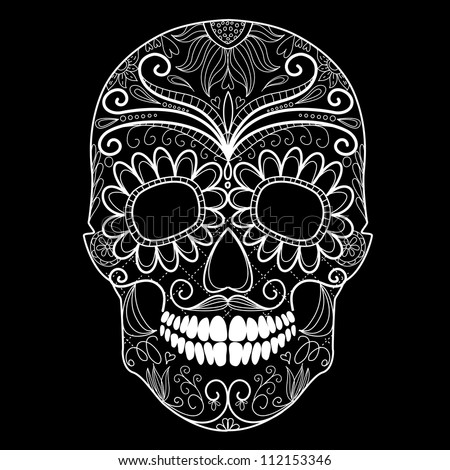Day of The Dead black and white Skull - stock vector