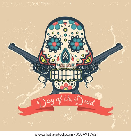 Day of the dead card with vintage skullband guns. vector illustration - stock vector