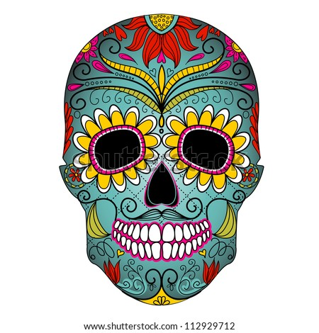 Day of The Dead colorful Skull with floral ornament - stock vector