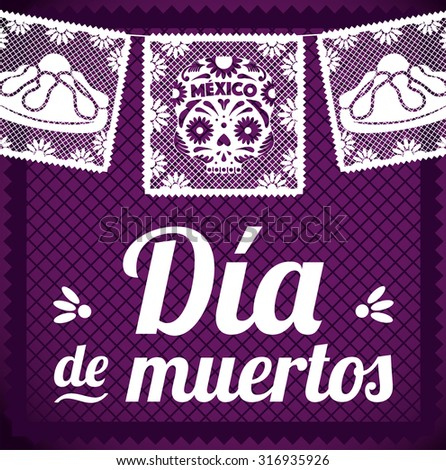 Day Of The Dead - Cut Out Paper Composition - stock vector