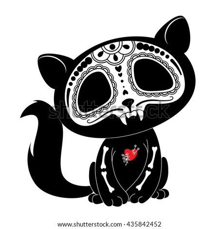 Day of the Dead (Dia de los Muertos) style kitty - stock vector