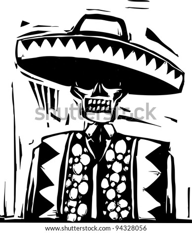 Day of the dead image with skeleton in sombrero.