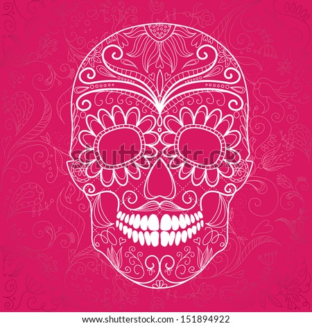 Day of The Dead pink and white Skull  - stock vector