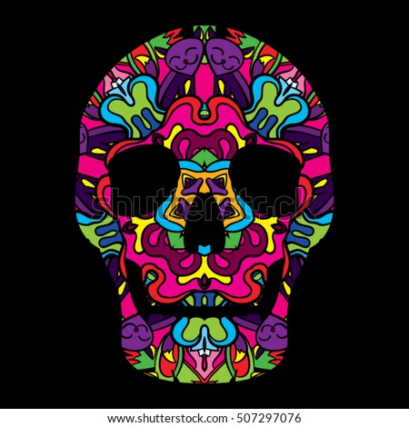 Day of the Dead Psychedelic Mexican Textured Skull 60s Colors Vector Illustration