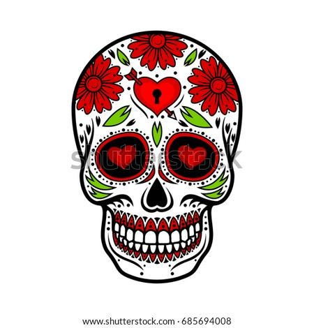 day dead skull skull sugar flower stock vector 685694008 shutterstock rh shutterstock com day of the dead vector graphics day of the dead vector art free