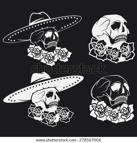 Day of The Dead Skull with flowers and sombrero, dia de los muertos - stock vector