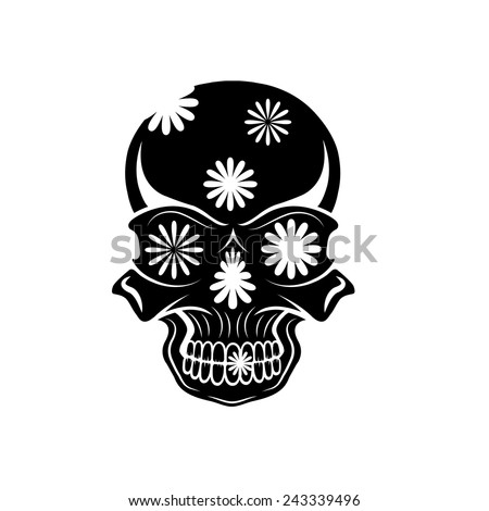 Day of The Dead Skull with flowers, dia de los muertos - stock vector