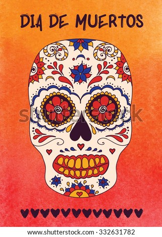 Day of the dead sugar skull vector. Mexican skull. Day of the dead skull. Dia de los muertos skull illustration. EPS10 vector illustration with place for your text. Easy editable. - stock vector