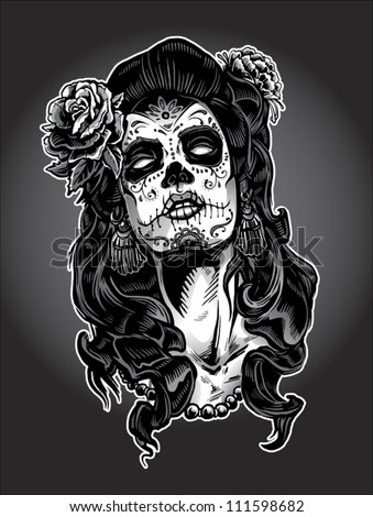 Day of The Dead Woman with Sugar Skull Face Paint - stock vector