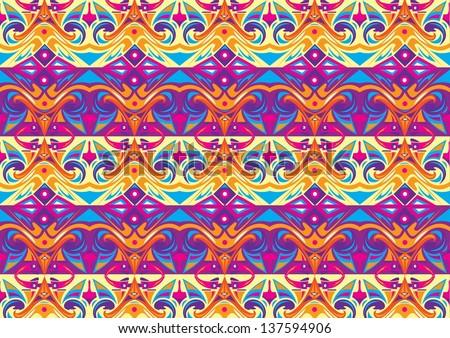 dayak kalimantan mix navajo aztec vector pattern - stock vector