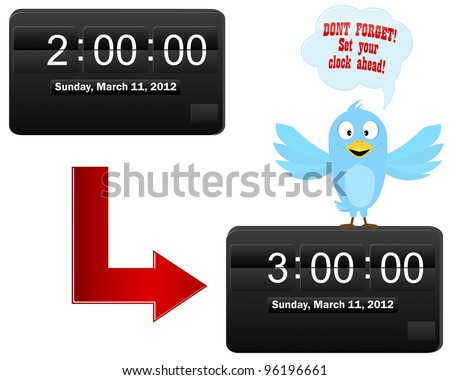 Daylight saving time begins. Blue Bird on a digital clock with speech bubble. Vector illustration.