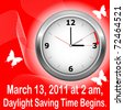 Daylight saving time begins march 13. Icon clock. vector. - stock photo