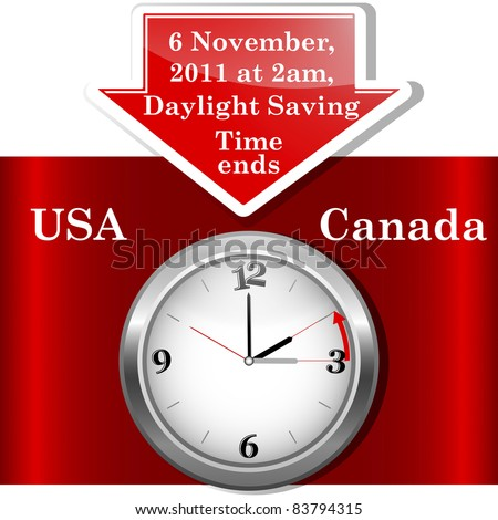 Daylight saving time ends sunday, november 6, 2011 at 2 am. Icon clock. Vector 10EPS. - stock vector