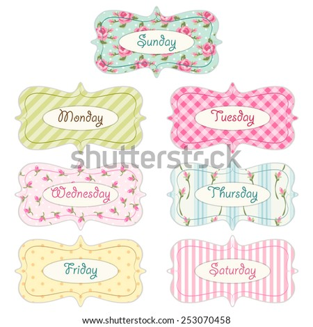Days Of Week Banners As Retro Festive Frames In Shabby Chic Style Ideal For Diary