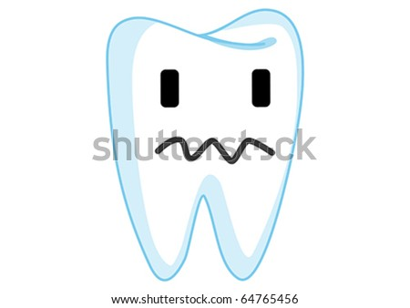 Dazed Tooth Cartoon Character Illustration in Vector - stock vector