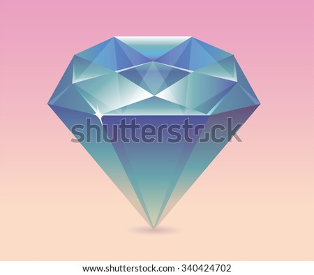 Dazzling diamond isolated on background - stock vector