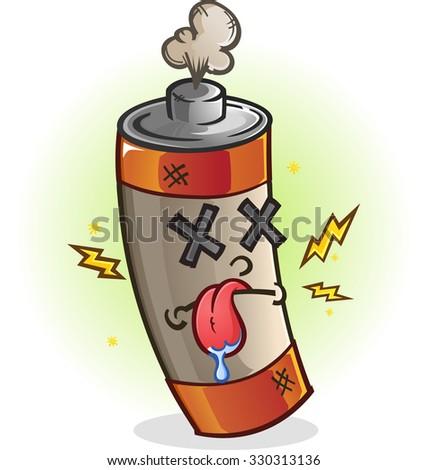Dead Battery Cartoon Character - stock vector