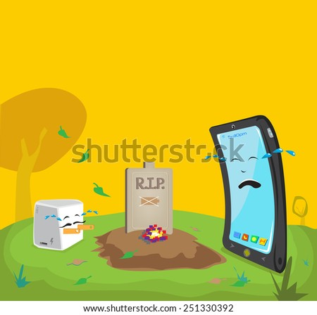 dead battery cartoon comical concept mobile phone and charger adapter are crying hard in cemetery