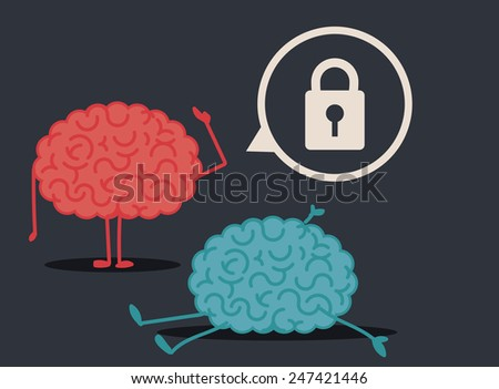 Dead brain by too closed mind: murder investigation conclusions - stock vector