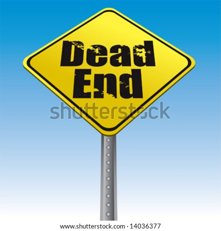 Dead end road sign vector - stock vector