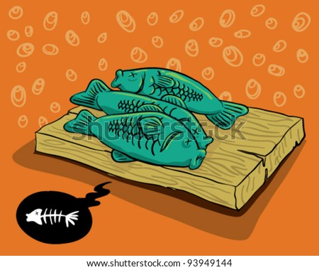 Dead Fishes - stock vector