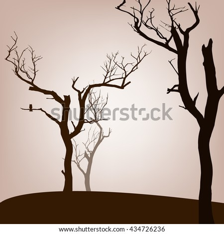 dead trees background, vector illustration