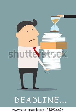 Deadline concept. Cartoon businessman carrying many reports with hour glass on top - stock vector