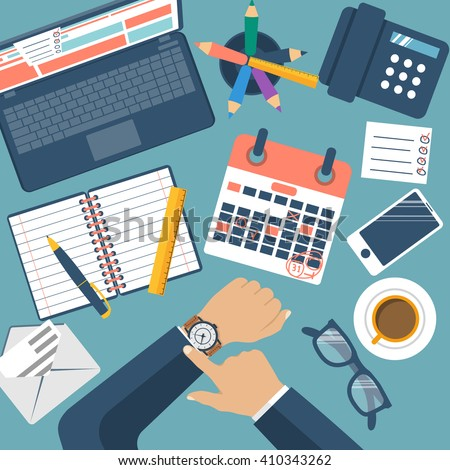 Deadline concept, flat design, vector. Management schedule, time management. Last day month. Calendar with notes. Mark on dates. Planning deadline. 31 numbers. The Man at the table checks the time. - stock vector