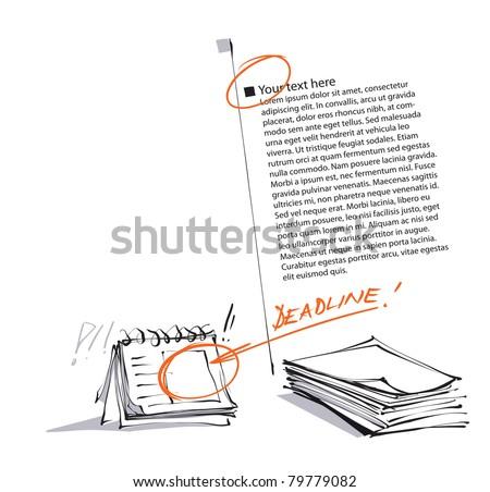 deadline metaphor - artistic page layout design - stock vector