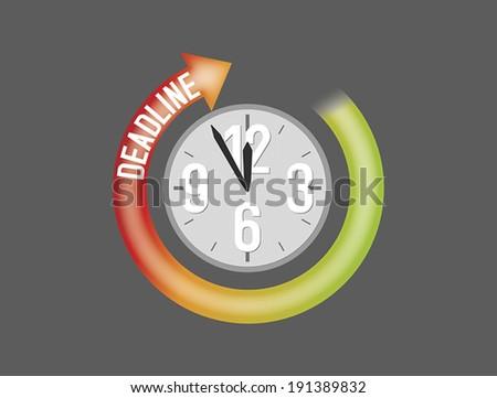 Deadline sign with clock showing five minutes to twelve - stock vector