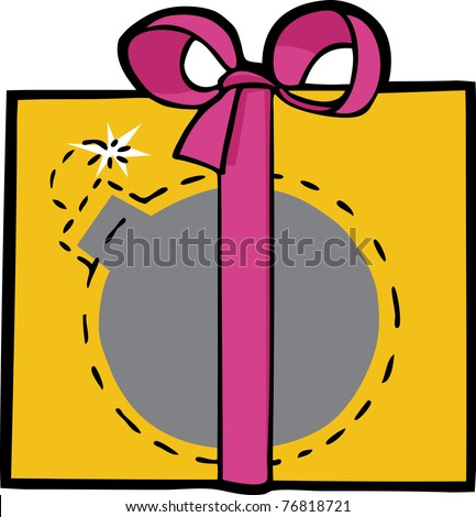 Deadly bomb smuggled in a pretty gift box with ribbon - stock vector
