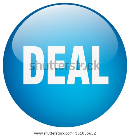 deal blue round gel isolated push button