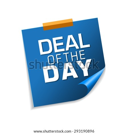 Deal Of The Day Blue Sticky Notes Vector Icon Design