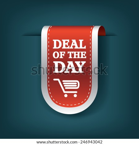 Deal of the day vertical ribbon bookmark tag element for sales promotion. Eps10 vector illustration. - stock vector
