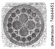 Dean's eye rose window in the North Transept of Lincoln Cathedral, England. Old engraving. Old engraved of Dean's eye rose window, in the Cathedral Church of the Blessed Virgin Mary of Lincoln. - stock vector
