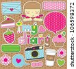 dear diary scrapbook elements. vector illustration - stock vector