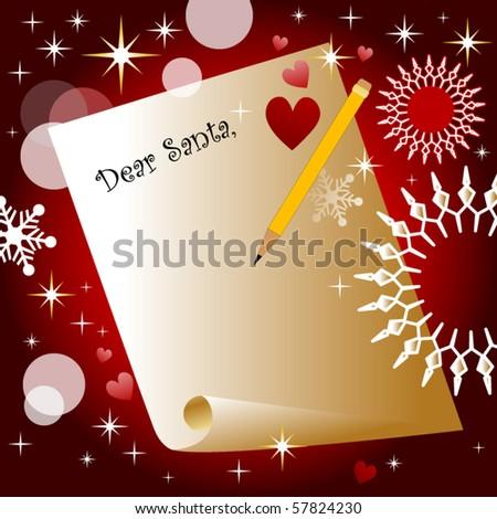 Dear Santa letter - stock vector