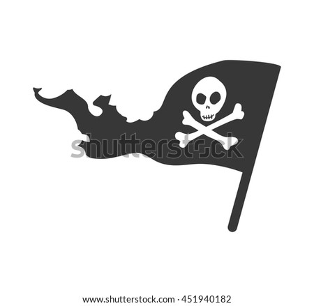 Death concept represented by skull silhouette icon. Isolated and flat illustration
