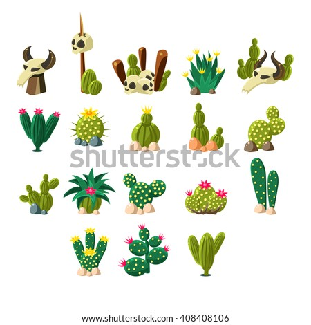 Death Valley Flat Vector Design Icons Set Of Isolated Items on White Background - stock vector