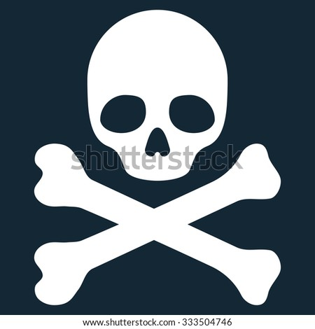 Death vector icon. Style is flat symbol, white color, rounded angles, dark blue background.
