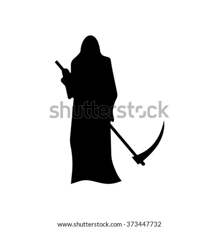 Death with a scythe silhouette isolated on white background - stock vector