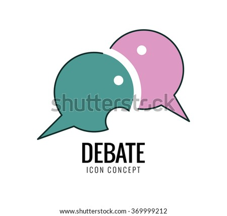 Debate and dialog, discussion, conversations symbol. thin line flat design. vector illustration - stock vector