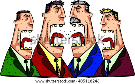 Debate four speakers. Political speeches, debates, interview, set. Broad and expressive facial gestures. Fight and discussion.Rhetoric, negotiations and disputes between the parties - stock vector