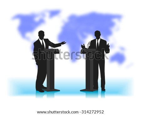 debate people at a microphone on not a sharp background of the planet - stock vector