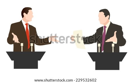 Debate two speakers. The controversy, disputes, negotiations. Vector. icon.