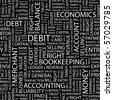 DEBIT. Seamless vector pattern with word cloud. Illustration with different association terms. - stock photo