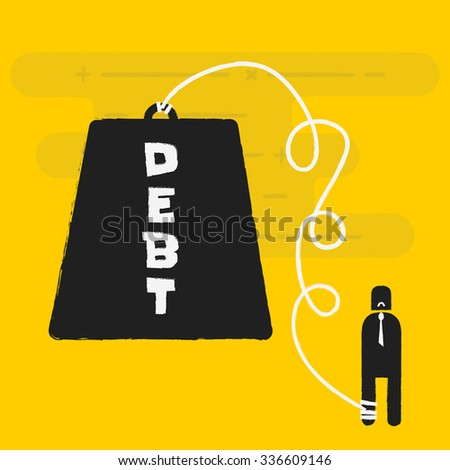 debt, business concept - stock vector