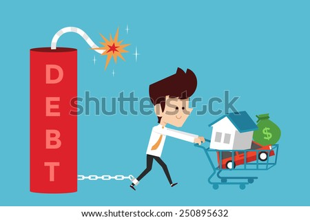 debt concept cartoon, flat design - stock vector